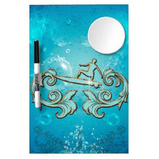 Water sport, surfboarder dry erase board with mirror