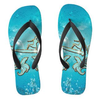 Water sport, surfboarder flip flops