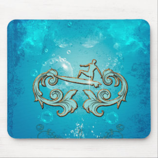 Water sport, surfboarder mouse pad