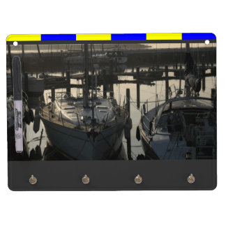 Water Sports Sailing Yachts and Boats in Marina Dry Erase Board With Keychain Holder