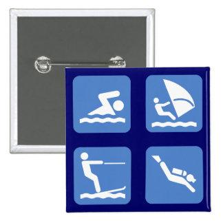 Water Sports Symbols Pin
