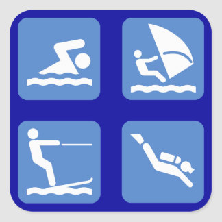 Water Sports Symbols Square Stickers