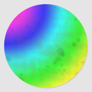 Water Stained Rainbow Classic Round Sticker