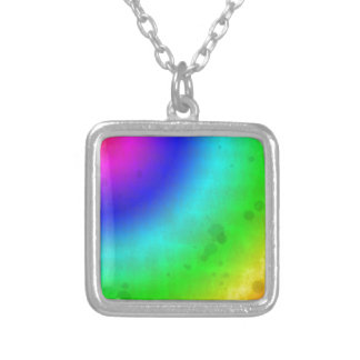 Water Stained Rainbow Silver Plated Necklace