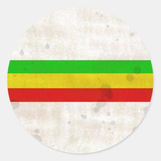 Water Stained Rasta Stripes Classic Round Sticker