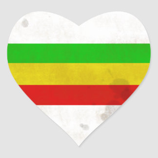 Water Stained Rasta Stripes Heart Sticker