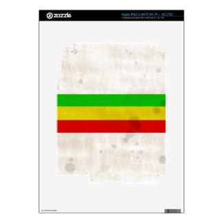 Water Stained Rasta Stripes iPad 3 Skin