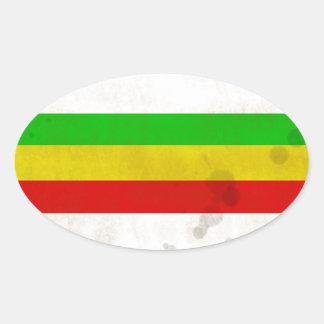 Water Stained Rasta Stripes Oval Sticker