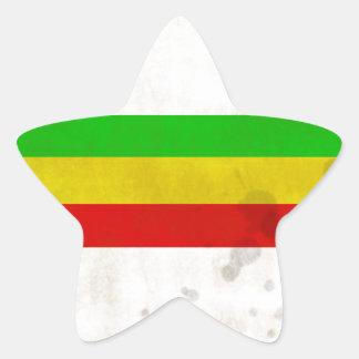 Water Stained Rasta Stripes Star Sticker
