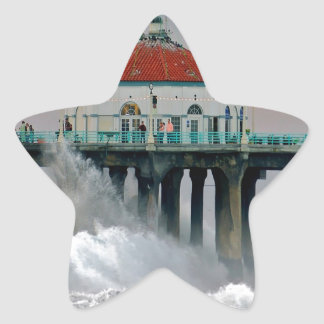 Water Storm Tides Hit Shore Pier Star Sticker