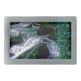 water stream flowing through mountain river rocks rectangular belt buckle