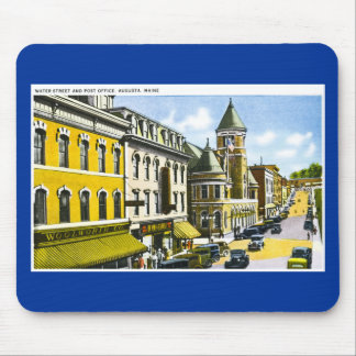 Water Street and Post Office, Augusta, Maine Mouse Pad