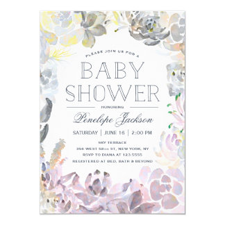 Water Succulents | Baby Shower 5x7 Paper Invitation Card