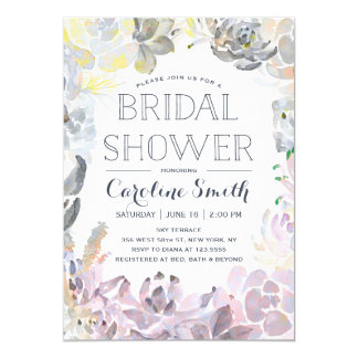 Water Succulents | Bridal Shower 5x7 Paper Invitation Card