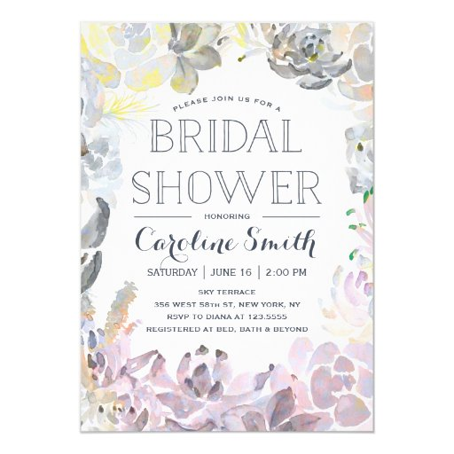 Water Succulents Bridal Shower Invitation