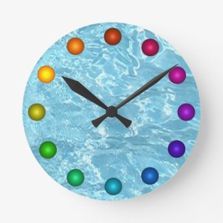 Water Summer Patio Clock Sunlight Blue White Pool