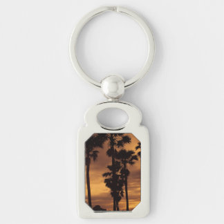 Water Sunset Palm Tree Nature Peace Love Destiny Silver-Colored Rectangular Metal Keychain