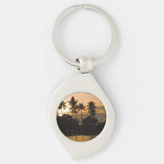 Water Sunset Palm Tree Nature Peace Love Destiny Silver-Colored Swirl Metal Keychain