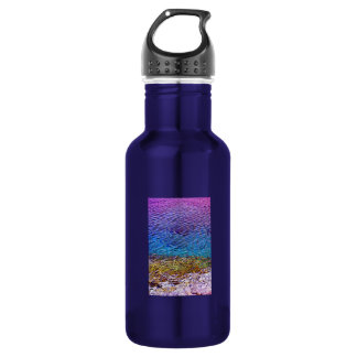 Water surface background stainless steel water bottle