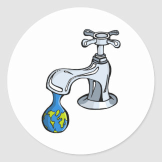 Water: take carea about ou limited resources. classic round sticker