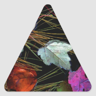 Water Tapestry Autumn Leaves on Water Triangle Sticker