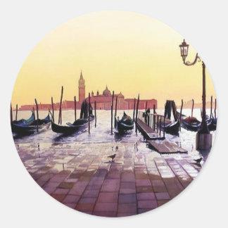 """""""Water Taxis"""" Gondola Scene Watercolor Classic Round Sticker"""