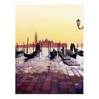"""Water Taxis"" Gondola Scene Watercolor Postcard"