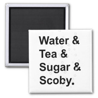 Water Tea Sugar Scoby 2 Inch Square Magnet