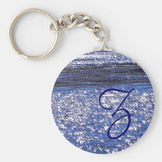 Water Texture Basic Round Button Keychain