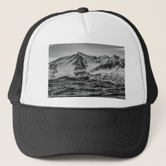 Water Themed, A Boat Navigates Choppy Waters At Se Trucker Hat