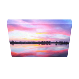 Water Themed, A Lake Reflecting The Sky Full Of Pi Canvas Print