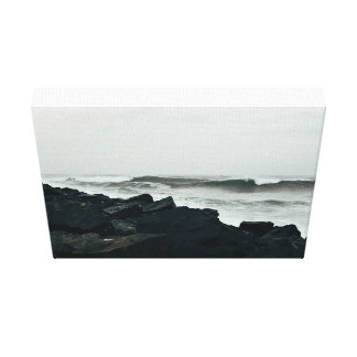 Water Themed, A Large Tumble Of Black Rocks Contra Canvas Print