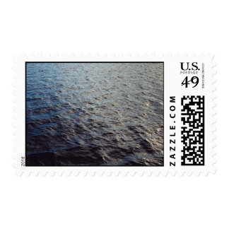 Water Themed, Dark Blue Water Of Lake Turned Golde Stamp