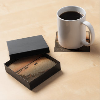 Water Themed, Kayaks And Boats Are On The Sand Of Drink Coasters