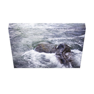 Water Themed, Rocks Break The Surface As Fast-Movi Canvas Print