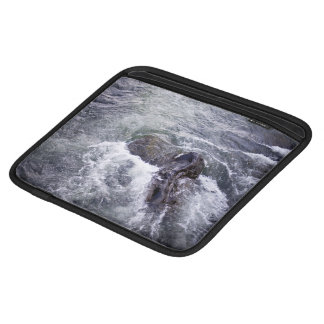 Water Themed, Rocks Break The Surface As Fast-Movi iPad Sleeves