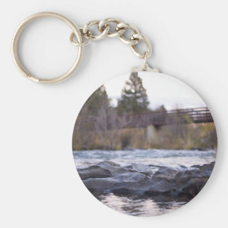 Water Themed, Tall Trees, Wooden Bridge, And River Keychain
