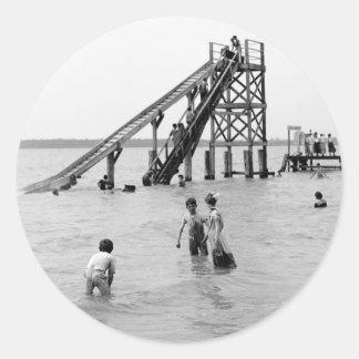 Water Toboggan, Bois Blanc Island, MI 1903 Classic Round Sticker