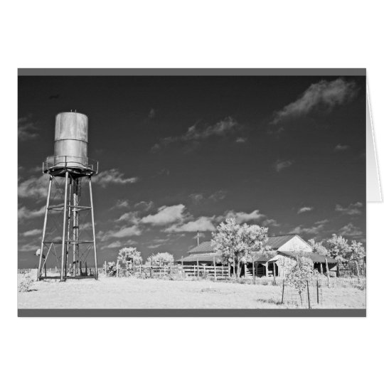 Water tower and barn on Texas ranch Card