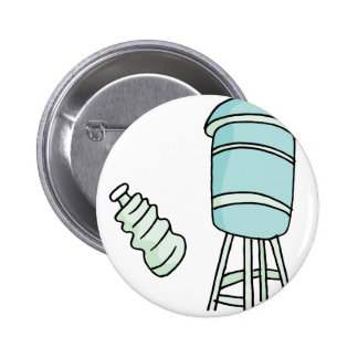 Water tower and water bottle pinback button