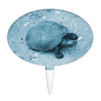 water turtle on bank blue tint reptile cake topper