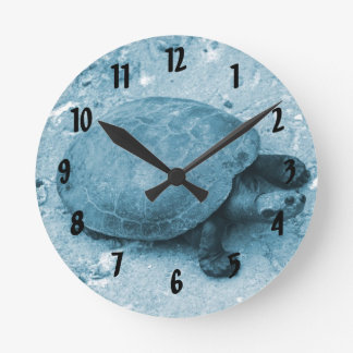 water turtle on bank blue tint reptile round clocks