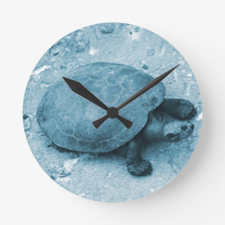 water turtle on bank blue tint reptile round wall clocks