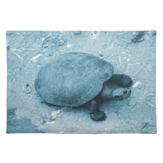 water turtle on bank blue tint reptile cloth placemat