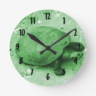 water turtle on bank green reptile round clock