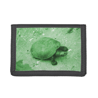 water turtle on bank green reptile trifold wallet