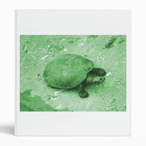 water turtle on bank green reptile vinyl binders