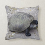 water turtle on bank throw pillow