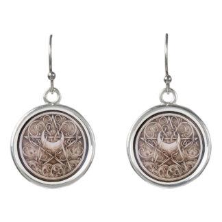 Water, Vines, and Moon Pentacle Drop Earrings