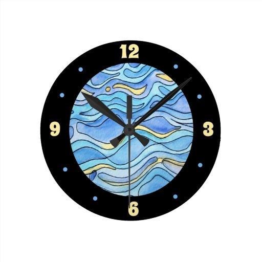 Water Watercolor Clock